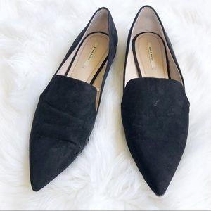 Zara leather suede black pointy toe flats 40-10